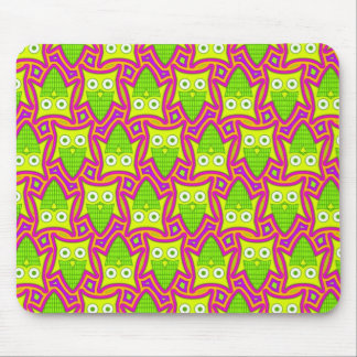 Psychedelic Neon Owl Pattern Mouse Pad