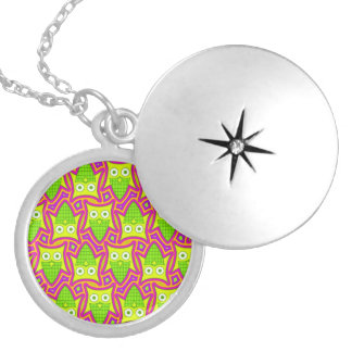 Psychedelic Neon Owl Pattern Round Locket Necklace