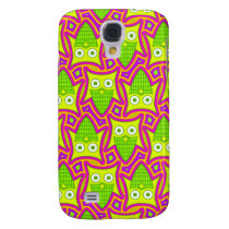 Psychedelic Neon Owl Pern Samsung Galaxy S4 Cover
