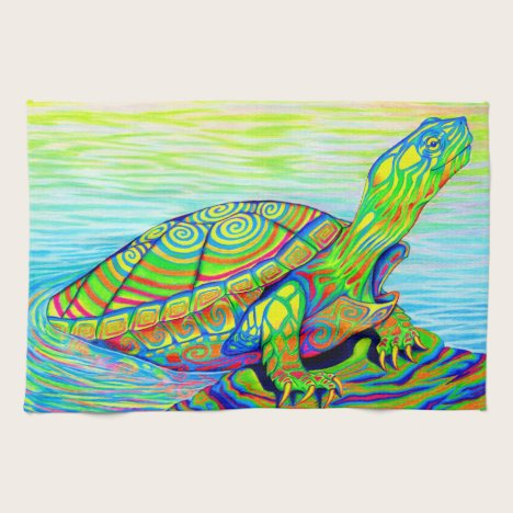 Psychedelic Neon Painted Turtle Kitchen Towel