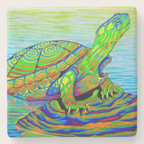 Psychedelic Neon Painted Turtle Stone Coaster