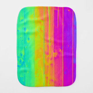 Psychedelic Neon Rainbow Faux Bois Wood Boards Baby Burp Cloths