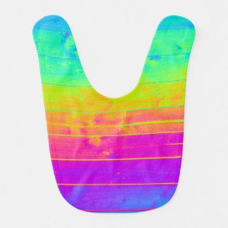 Psychedelic Neon Rainbow Faux Bois Wood Boards Bibs