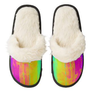Psychedelic Neon Rainbow Faux Bois Wood Boards Pair Of Fuzzy Slippers
