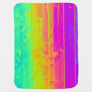 Psychedelic Neon Rainbow Faux Bois Wood Boards Baby Blanket