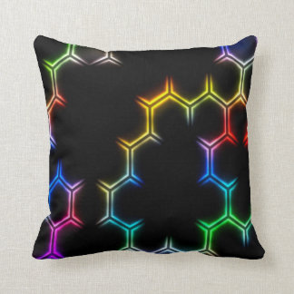 Psychedelic Neon Rainbow Honeycomb Pattern Pillow