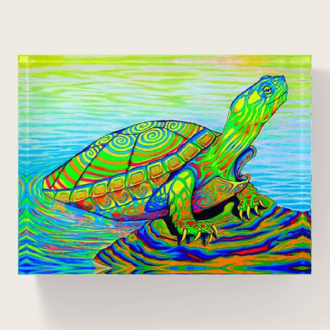 Psychedelic Neon Rainbow Turtle Paperweight