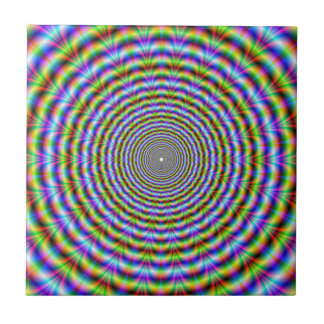 Psychedelic Neon Ripples tile Small Square Tile