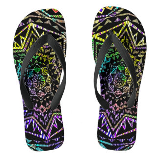 Psychedelic Neon Star Mandala Art Sandals