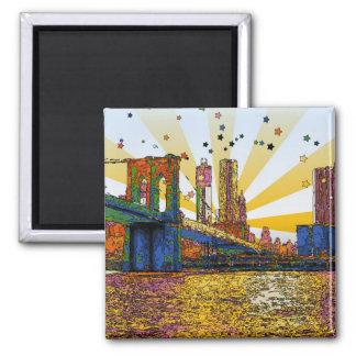Psychedelic New York City: Brooklyn Bridge, WTC #1 2 Inch Square Magnet
