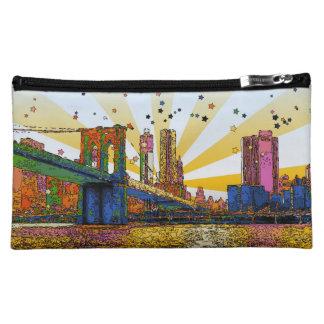 Psychedelic New York City Brooklyn Bridge WTC 1 Makeup Bags