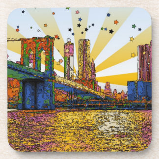 Psychedelic New York City: Brooklyn Bridge, WTC #1 Beverage Coaster