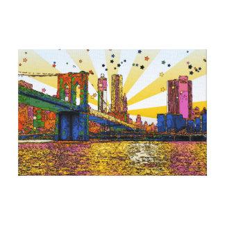 Psychedelic New York City: Brooklyn Bridge, WTC #1 Canvas Prints