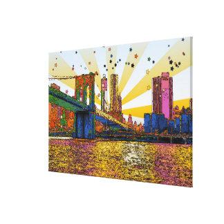Psychedelic New York City: Brooklyn Bridge, WTC #1 Canvas Print