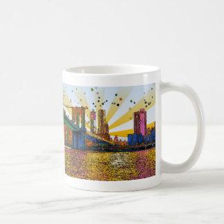Psychedelic New York City: Brooklyn Bridge, WTC #1 Coffee Mug