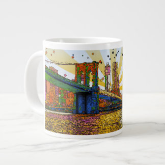 Psychedelic New York City: Brooklyn Bridge, WTC #1 Giant Coffee Mug