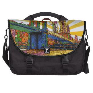 Psychedelic New York City: Brooklyn Bridge, WTC #1 Laptop Computer Bag