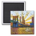 Psychedelic New York City: Brooklyn Bridge, WTC #1 Magnet