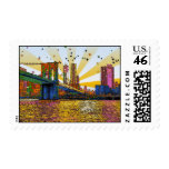 Psychedelic New York City: Brooklyn Bridge, WTC #1 Postage Stamps