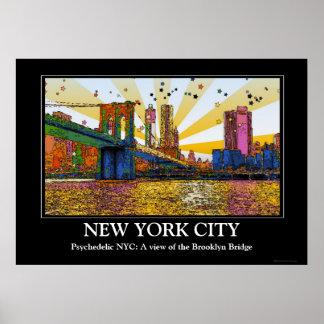 Psychedelic New York City: Brooklyn Bridge, WTC #1 Print