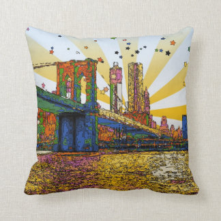 Psychedelic New York City: Brooklyn Bridge, WTC #1 Throw Pillow