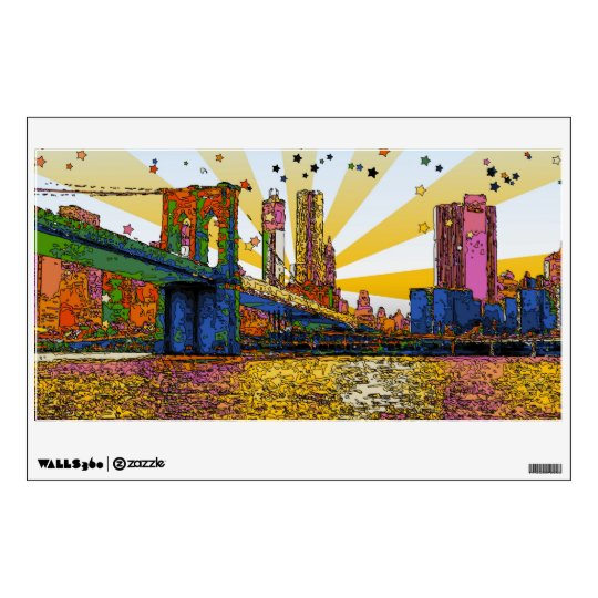 Psychedelic New York City: Brooklyn Bridge, WTC #1 Wall Decal