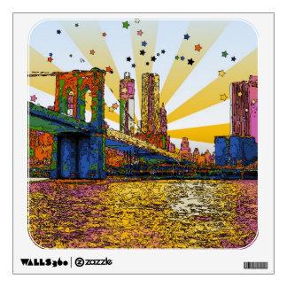 Psychedelic New York City: Brooklyn Bridge, WTC #1 Wall Sticker