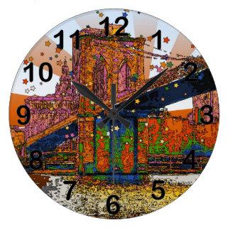 Psychedelic NYC: Brooklyn Bridge #1 Wall Clocks