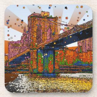 Psychedelic NYC: Brooklyn Bridge #1 Drink Coaster