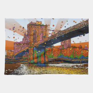 Psychedelic NYC: Brooklyn Bridge #1 Hand Towels