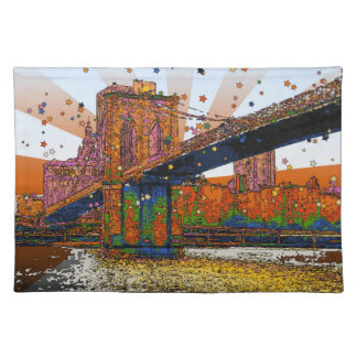 Psychedelic NYC: Brooklyn Bridge #1 Place Mats