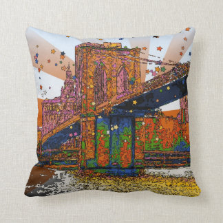 Psychedelic NYC: Brooklyn Bridge #1 Throw Pillow