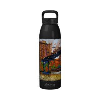 Psychedelic NYC: Brooklyn Bridge #1 Drinking Bottles