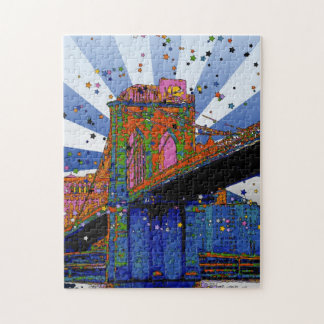 Psychedelic NYC: Brooklyn Bridge #2 Jigsaw Puzzle