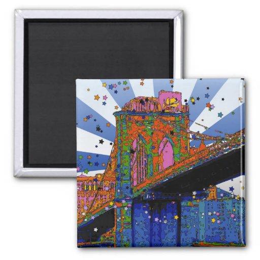 Psychedelic NYC: Brooklyn Bridge #2 Fridge Magnets