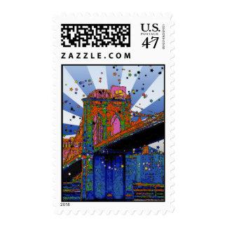 Psychedelic NYC: Brooklyn Bridge #2 Postage