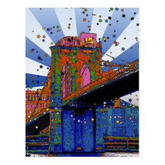Psychedelic NYC: Brooklyn Bridge #2 Postcard