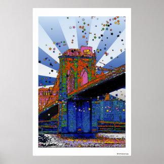 Psychedelic NYC: Brooklyn Bridge #2 Poster