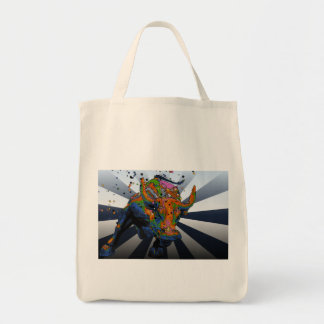 Psychedelic NYC: Charging Bull of Wall Street Canvas Bag