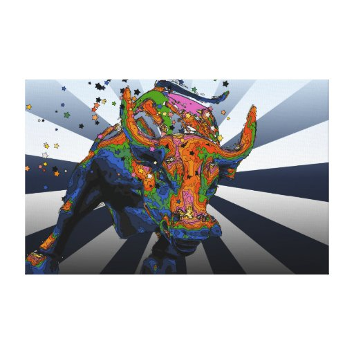 Psychedelic NYC: Charging Bull of Wall Street Canvas Print