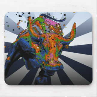 Psychedelic NYC: Charging Bull of Wall Street Mouse Pad