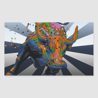 Psychedelic NYC: Charging Bull of Wall Street Rectangular Sticker