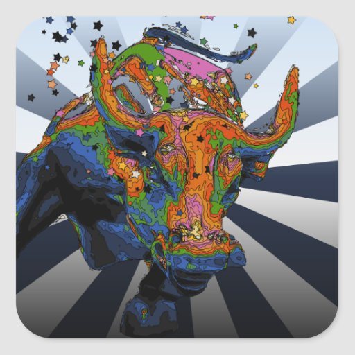 Psychedelic NYC: Charging Bull of Wall Street Square Sticker