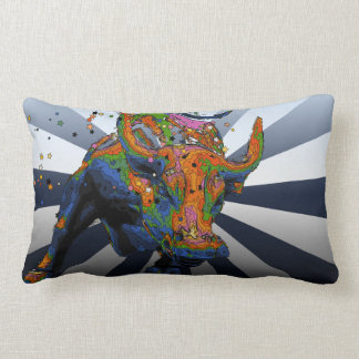 Psychedelic NYC: Charging Bull of Wall Street Throw Pillow