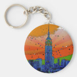 Psychedelic NYC: Empire State Building #3 Basic Round Button Keychain