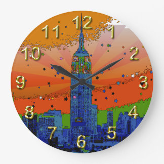 Psychedelic NYC: Empire State Building #3 Large Clock