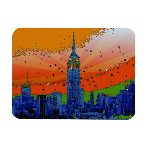 Psychedelic NYC: Empire State Building #3 Flexible Magnets