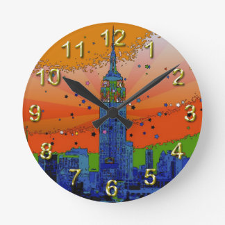 Psychedelic NYC: Empire State Building #3 Round Clock
