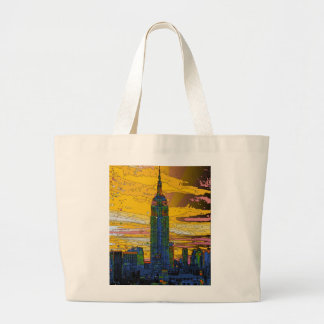 Psychedelic NYC: Empire State Building B4 Tote Bags
