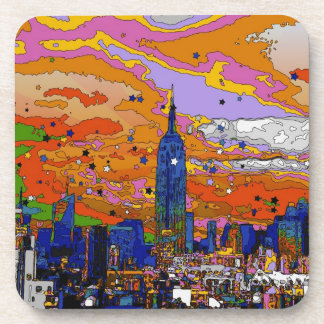 Psychedelic NYC Empire State Building & Skyline A1 Beverage Coaster